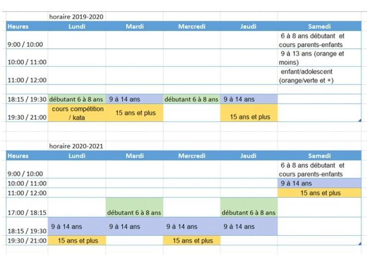 Horaire judo 2020 2021